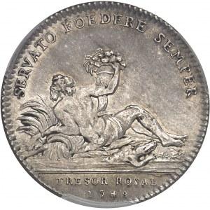 Louis XV (1715-1774). Jeton du Trésor royal au revers avec le Nil par Joseph-Charles Roëttiers 1748, Paris.