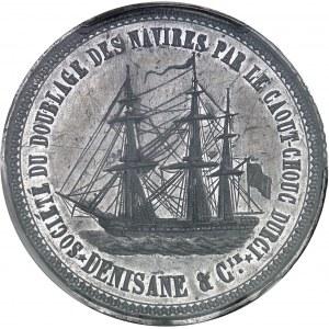 Second Empire / Napoléon III (1852-1870). Cliché uniface du jeton de la Société du doublage des navires par le Caout-chouc durci, Denisane & Compagnie ND (c.1855), Paris.
