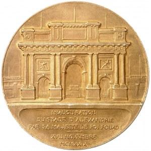 Fouad Ier (1917-1936). Médaille, inauguration du stade d'Alexandrie par sa majesté le Roi Fouad I, par S. E. Vernier et Falize, dans sa boîte d'origine 1929, Paris.
