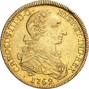"""Charles III (1759-1788). 8 escudos """"à la tête de rat"""" 1762 JV, S, Séville."""