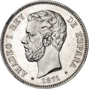 Amédée Ier (1870-1873). 5 pesetas, Flan bruni (PROOF) 1871 (18 - 71), SDM, Madrid.