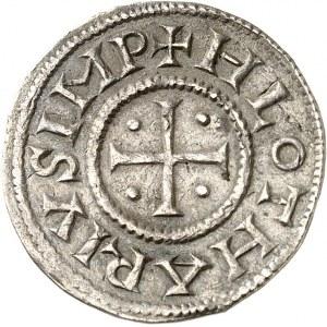 Lothaire (840-855). Denier au temple ND (840-855), Verdun.