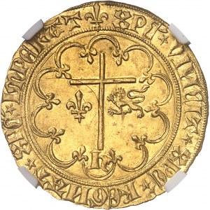 Henri VI d'Angleterre (1422-1453). Salut d'or 2e émission ND (1422), lis, Saint-Lô.