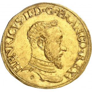 Henri II (1547-1559). Double Henri d'or 1er type 1553, C, Saint-Lô.