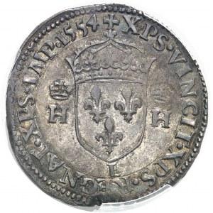 Henri II (1547-1559). Teston au buste couronné 1554, L, Bayonne.