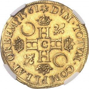 Charles IX (1560-1574). Double Henri d'or 3e type 1561, C, Saint-Lô.