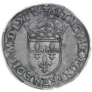 Charles IX (1560-1574). Teston, 4e type 1562, D, Lyon.