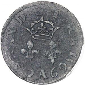 Charles IX (1560-1574). Piéfort de poids quadruple du denier tournois en argent 1569, A, Paris.