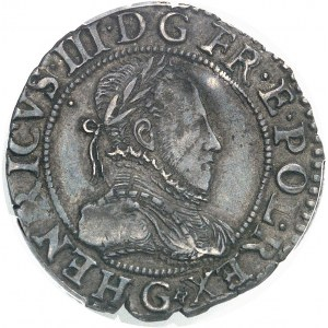 Henri III (1574-1589). Quart de franc au col plat 1587, G, Poitiers.