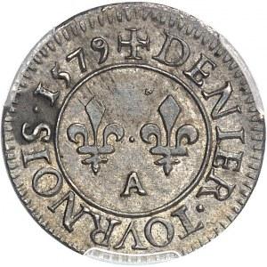 Henri III (1574-1589). Essai en argent du denier tournois 1579, A, Paris.