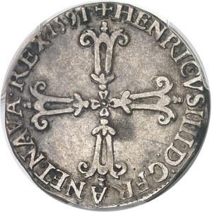 Henri IV (1589-1610). Quart d'écu, croix feuillue de face 1591, A, Compiègne.