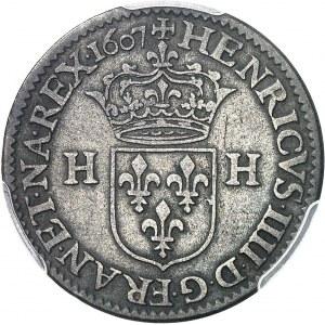 Henri IV (1589-1610). Piéfort de poids double du douzain 1607, A, Paris.