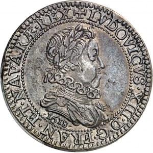 Louis XIII (1610-1643). Piéfort de poids quadruple du 1/4 de franc 1618, A, Paris.