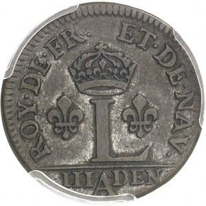 Louis XIV (1643-1715). Essai du liard à l'L couronnée ou 3 deniers 1649, A, Paris.