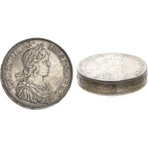 Louis XIV (1643-1715). Piéfort quadruple de l'écu à la mèche courte 1644, A, Paris.