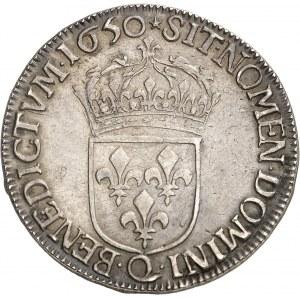 Louis XIV (1643-1715). Demi-écu à la mèche longue 1650, Q, Narbonne.