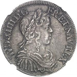 Louis XIV (1643-1715). Demi-écu à la mèche longue 1651, G, Poitiers.