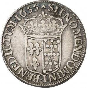 Louis XIV (1643-1715). Demi-écu de Navarre à la mèche longue 1655, Saint-Palais.