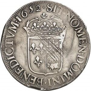 Louis XIV (1643-1715). Écu de Béarn à la mèche longue 1652, Pau.