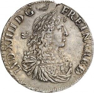 Louis XIV (1643-1715). Écu de Béarn au buste juvénile 1663, Pau.