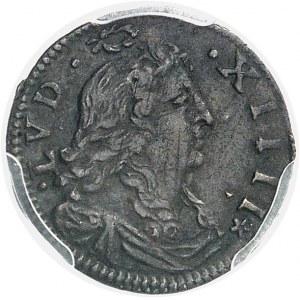 """Louis XIV (1643-1715). Double sol à la croix fleurdelisée dit """"des traitants"""" 1677, A, Paris."""
