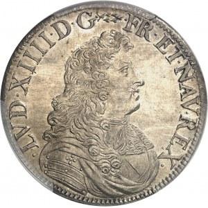 Louis XIV (1643-1715). Écu à la cravate, 1ère émission par F. Warin 1676, A, Paris.
