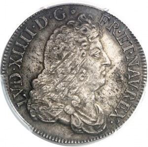 Louis XIV (1643-1715). Demi-écu à la perruque avec buste drapé à l'antique 1688, D, Lyon.
