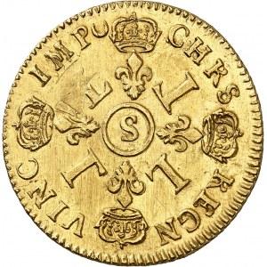 Louis XIV (1643-1715). Double louis d'or aux quatre L, réformation 1693, S, Reims.