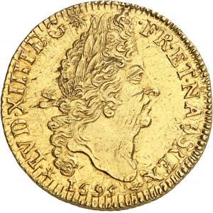 Louis XIV (1643-1715). Double louis d'or aux quatre L, réformation 1695, T, Nantes.