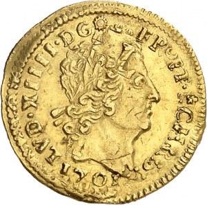Louis XIV (1643-1715). Demi-louis aux huit L et aux insignes, réformation 1701, S, Reims.