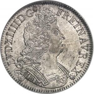 Louis XIV (1643-1715). Écu aux insignes, flan neuf 1703, A, Paris.