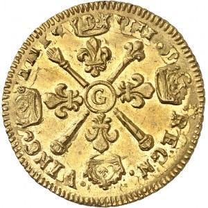 Louis XIV (1643-1715). Louis d'or aux insignes, réformation 1704, G, Poitiers.