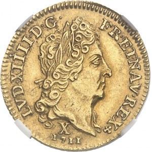 Louis XIV (1643-1715). Demi-louis d'or au soleil 1711, X, Amiens.