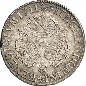 Louis XIV (1643-1715). Écu de Béarn aux trois couronnes 1711, Pau.