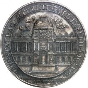 Louis XIV (1643-1715). Médaille, construction de la colonnade du Louvre par Molart 1667, Paris.