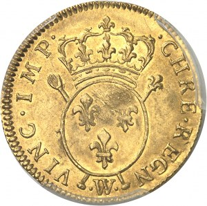 Louis XV (1715-1774). Louis d'or aux insignes, 2e type, flan neuf 1716, W, Lille.