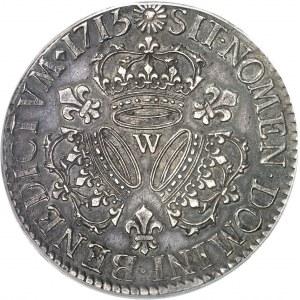 Louis XV (1715-1774). Écu aux trois couronnes 1715, W, Lille.
