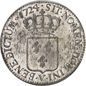 Louis XV (1715-1774). Écu de France, flan neuf 1724, V, Troyes.