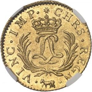 Louis XV (1715-1774). Louis d'or dit Mirliton de Béarn, aux palmes longues 1725, Pau.