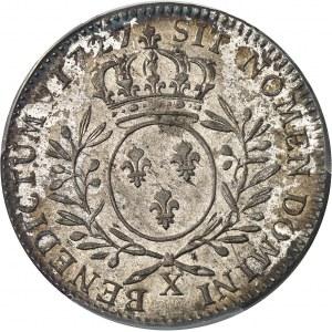 Louis XV (1715-1774). Demi-écu aux rameaux d'olivier 1727, X, Amiens.