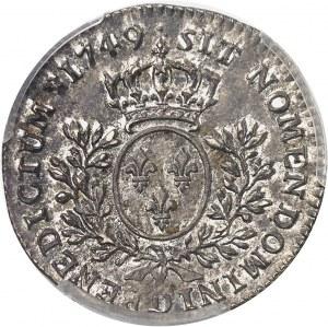 Louis XV (1715-1774). Cinquième d'écu au bandeau 1749, D, Lyon.