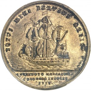 Louis XV (1715-1774). Médaille, création de la Chambre de Commerce et juridiction consulaire des marchands de Lille par Jean Duvivier 1715, Paris.
