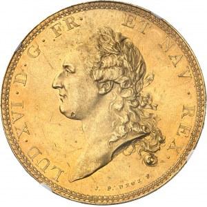 Louis XVI (1774-1792). Essai en Or de l'écu par Droz ou écu de Calonne, tranche à six viroles 1786, A, Paris.