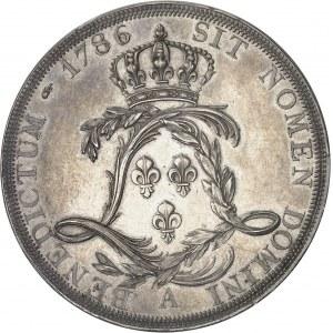 Louis XVI (1774-1792). Essai de l'écu par Droz ou écu de Calonne, tranche à six viroles 1786, A, Paris.
