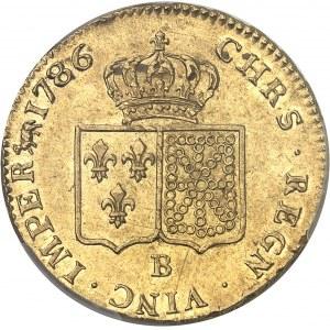 Louis XVI (1774-1792). Double louis d'or à la tête nue 1786, 1er semestre, B, Rouen.