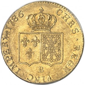 Louis XVI (1774-1792). Double louis d'or à la tête nue 1786, 2e semestre, B, Rouen.