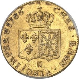 Louis XVI (1774-1792). Double louis d'or à la tête nue 1786, 1er semestre, N, Montpellier.