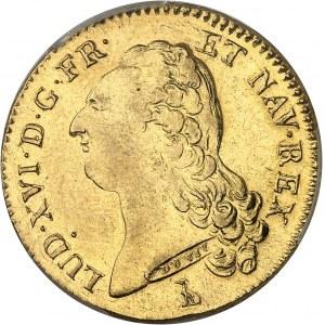 Louis XVI (1774-1792). Double louis d'or à la tête nue 1786, 2e semestre, T, Nantes.