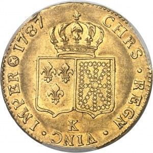 Louis XVI (1774-1792). Double louis d'or à la tête nue 1787, 1er semestre, K, Bordeaux.