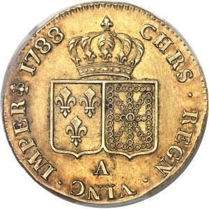 Louis XVI (1774-1792). Double louis d'or à la tête nue, variété en platine 1788, 1er semestre, A, Paris.